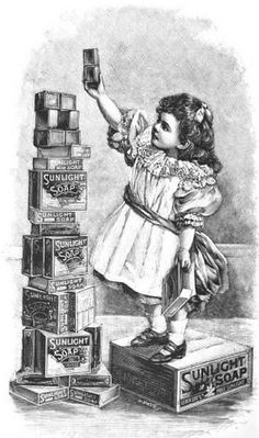 A charming illustration from a 1900 Sunlight Soap ad. #vintage #1900s #ads