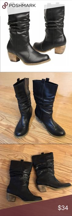 """WANTED Draw black boots WANTED Women's Draw cowboy style Boots   Distressed black faux leather upper in a mid-calf casual pull-on boot style   round toe   slouch shaft   Pull-on tabs on sides   2"""" heel   size 8   only worn once, in excellent condition! Wanted Shoes Winter & Rain Boots"""