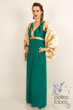 Robe / Dress : Daphne - Crêpe de soie + étole en soie sauvage / Crepe silk + raw silk stole - www.lespetitesrobes-soie.com