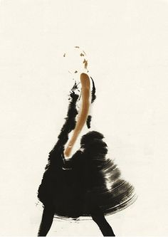 An illustration of a woman rendered with very, very disciplined and few brushstrokes.