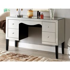 MONACO Mirrored Dressing Table 4 drawer - Mirror Furniture