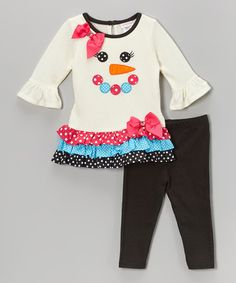 Loving this White Snowman Tiered Tunic & Leggings - Infant, Toddler & Girls on #zulily! #zulilyfinds