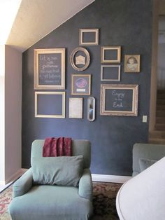 "chalkboard accent wall with empty frames. I could ""showcase"" each friends art."