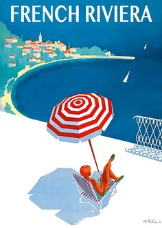 1954 French Riviera Travel Poster
