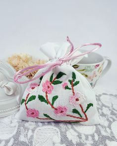 Your place to buy and sell all things handmade Fabric Gift Bags, Coin Bag, White Fabrics, Embroidered Flowers, Small Gifts, Dried Flowers, Pouches, Embroidery, Group