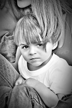 dramatic black and white toddler pic