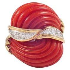 Coral Diamond Gold Dome Ring