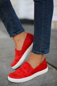 @Ken Vega Cole Productions red calf hair sneakers