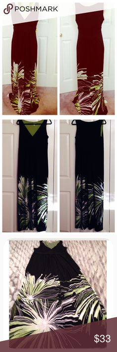 """Sandra Darren, Sleeveless Long Length, Maxi Dress Sandra Darren, Gorgeous Black with Greens & White, Long Maxi Dress. This is Stunning on with a Slimming & Flattering Look. Sleeveless Dress has Overlapped V Neckline with a Fabric Band Below the Chest, not waist. Pleats Form above Band Along the Chest & Below Mid Panel on Both Sides Flowing Down to Bottom. Chest is Fully Lined with Lime Green Soft Polyester Fabric. An """"A"""" Cut, Easy Pullover Fit & Style. Chest 36""""-40"""", Waist is Flowy & Loose…"""