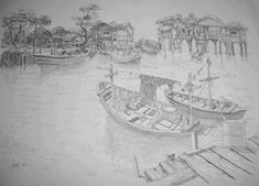 perahu boat sketch black white