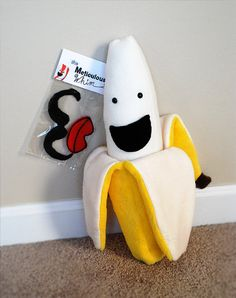 Banana Plush with Removable Peel & Accessories - Banana Plushie - Stuffed Banana - Food Plush Toy - Novelty Pillow - Funny Gifts