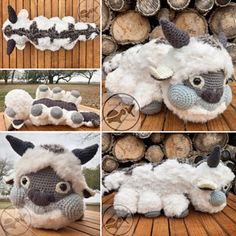 This is a pattern for Appa from Avatar: The Last Airbender! There are lots of parts, but don't worry, I'll walk you through the steps for assembly with pictures and description.