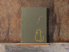 Yellow Cat Watching A Butterfly. Hand Embroidered A5 Notebook. Nature Journal. Feline Green Journal. Cat Lovers Notebook. Cute Cat Notebook