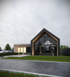 Private house on Behance Modern Barn House, Modern House Design, Facade Design, Roof Design, Gable House, Dream House Exterior, Facade House, House Roof, Industrial House