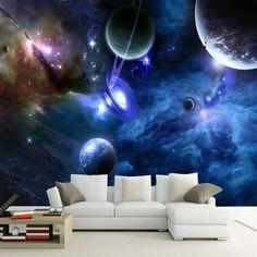 Pas cher Plafond intérieur 3D Galaxy Fluorescent Non tissé L'humidité décoration…