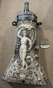 German antler and steel flask, c. 1570; the goddess Fortuna stands on a hedgehog upon a globe