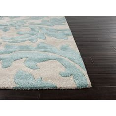 Jaipur Rugs Transitional Floral Pattern Ivory/Blue Wool and Art Silk Area Rug (Rectangle) Aqua Rug, Navy Blue Area Rug, White Area Rug, Square Outdoor Rugs, Indoor Outdoor Rugs, Plush Area Rugs, 8x10 Area Rugs, Affordable Rugs, Jaipur Rugs
