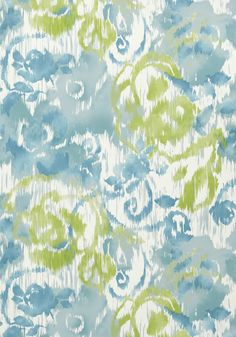WATERFORD FLORAL, Aqua and Green, T24342, Collection Bridgehampton from Thibaut
