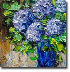 Hydrangea Painting on Board Title: Blue Hydrangea and Blue Vase ©1998-2012 Beata Sasik - All Rights Reserved Size: 12 X 12 INCHES Date: 2012