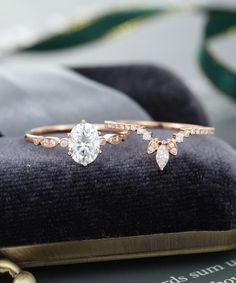 Oval Moissanite engagement ring set rose gold Unique engagement ring vintage Curved Marquise cut wedding Bridal Anniversary gift for women Dream Engagement Rings, Engagement Ring Settings, Solitaire Engagement, White Sapphire Engagement Rings, White Topaz Rings, Engagement Wedding Ring Sets, Engagement Photos, Ring Verlobung, Gold Ring