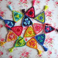 Carnival cotton crochet bunting