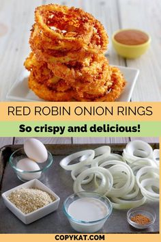 Love Red Robin Onion Rings? You can make these crispy Panko crusted onion rings at home. Fast Recipes, Yummy Recipes, Great Recipes, Cooking Recipes, Favorite Recipes, Good Food, Yummy Food, Tasty, Healthy Dinners