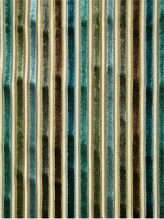 """Myriad Teal Stripe Velvet Fabric. Up the roll multi purpose decorator fabric. 50% poly, 50% rayon. 3.5"""" repeat. 54"""" wide"""