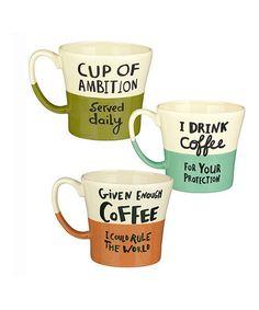 Love this 'Coffee' Half-Dipped Mug - Set of Three on #zulily! #zulilyfinds