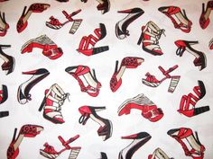 Timeless Treasures Fabrics SHOES Red High Heels HOT Sold by the Yard Top Quality