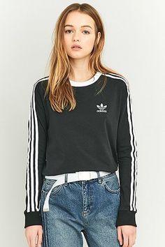 nice adidas Originals - Langärmliges T-Shirt in Schwarz mit 3 Streifen - Damen 34