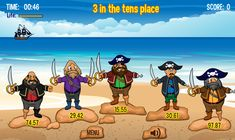 In Place Value Pirates, students must use their place value skills to dispatch of the wretched pirate Sir Francis Place Value and his horrible band of plac Place Value Games, Game Place, Tens Place, Pirate Kids, Pirate Flags, Famous Pirates, Pirate Activities, Math Games For Kids