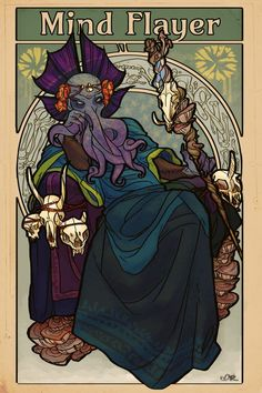 """roachpatrol: """" i got commissioned to do a big art nouveau poster of a mind flayer and it was a lot of fun but i also want to kick alphonse mucha in the shins """" My Fantasy World, Fantasy Rpg, Dark Fantasy, Final Fantasy, Character Art, Character Design, Mind Flayer, Art Nouveau Poster, Fantasy Monster"""