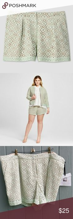 NWT Victoria Beckham mint pleated lace shorts 18W Size 18W. No stretch in waist. Victoria Beckham for Target Shorts