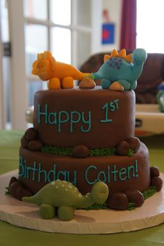 T-Rex Dinosaur Cake Ideas | The Buttercream Bakery: Dinosaur 1st Birthday Cake