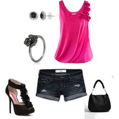 Simple and Fun, created by mclaa22 on Polyvore; minus the heels, i'd prob wear a pair of flats or flip flops with it :)