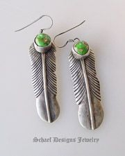 Green Carico Lake & sterling silver native american artist signed feather earrings   Schaef Designs artisan handcrafted Southwestern, Native American & Equine Jewelry   Online upscale southwestern equine jewelry boutique gallery   New Mexico