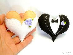 Valentine hearts Heart decoration Wedding by ImaginaryHandicraft Bride And Groom Cake Toppers, Wedding Cake Toppers, Wedding Cakes, Wedding Door Hangers, Wedding Doors, Heart Decorations, Wedding Decorations, Felt Magnet, Felt Ornaments