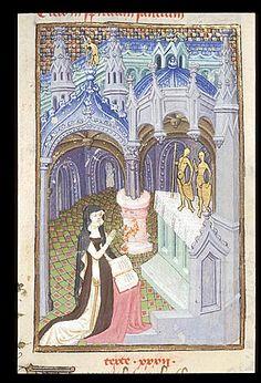 Harley 4431   fol 110v detail  (Cassandra). Paris, France 1410-1414.