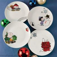 peanuts christmas holiday scenes plate collection ceramic set of holiday treats look and taste better than ever served on these delightful ceramic - Christmas Plastic Plates
