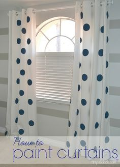 Painted Curtains with Jumbo Polka-Dots {& a grandkid's room update}