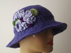 Lilac Purple Floral Brimmed Hat Ribbon  Stylish by nilsmake, $22.00