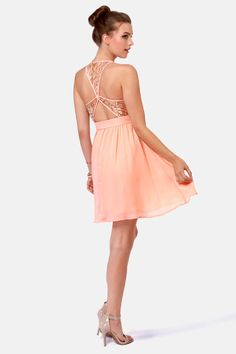 If only it was floor length!!! Lovely Peach Dress - Sequin Dress - Lace Dress - $45.00