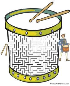 This drum shaped maze is a wonderful worksheet for kids. Move the drumsticks thru the maze to the dummer. Drum Lessons, Music Lessons, Music Lesson Plans, Instruments Of The Orchestra, Mazes For Kids, Music Worksheets, Music Activities, Leadership Activities, Group Activities