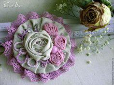 """Купить """"Цветущая сирень"""" брошь - брошь цветок, брошь, брошь цветок нежный, броши из ткани"""