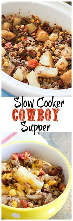 Slow Cooker Cowboy Supper The latest recipes and sweet suggestions. Crock Pot Food, Crockpot Dishes, Crock Pot Slow Cooker, Slow Cooker Recipes, Cooking Recipes, Cowboy Stew Recipe Crock Pot, Dinner Crockpot, Cheap Crock Pot Meals, Crockpot Cowboy Casserole
