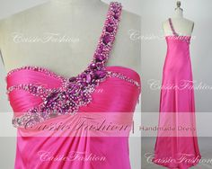 2014 Prom DressOne Shoulder Sweetheart Beading by CassieFashion, $149.00