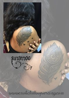 Peacock Mandala inspired feather tattoo- Artist Sutattoo. Kindly contact Su for appointments  at exotic@exotictattoopiercing.com.  https://www.facebook.com/Exotic-Tattoos-and-Piercings-418666600080/timeline?ref=page_internal http://exoticpiercing.tattoo/johnny2thumbs.html  https://www.pinterest.com/sutattoo/ Singapore tattoo studio , Orchard Road, Singapore female tattoo artist, Johnny Two Thumbs Family Tattoo Studio.