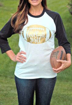 The cutest Football Raglans for Fall! | Choose from 10 Colors to customize for your home team! | Love that gold!