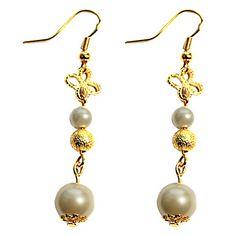 Handmade Golden Alloy Beads and Pearl Sweet Lolita Earrings