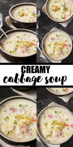 delicious soup Creamy Cabbage Soup - Hearty and comforting! This delicious and easy soup recipe is loaded with tender cabbage, carrots, celery, ham and spices. Ham And Cabbage Soup, Cabbage Soup Recipes, Easy Soup Recipes, Cooking Recipes, Healthy Recipes, Creamy Cabbage Soup Recipe, Soup With Ham, Keto Recipes, Vitamix Recipes